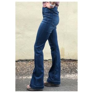 Cello Pull On Flare Jeans Dark Denim S
